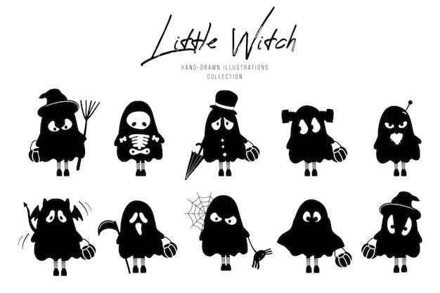Kleine heks silhouet van halloween hand getekende illustratie.