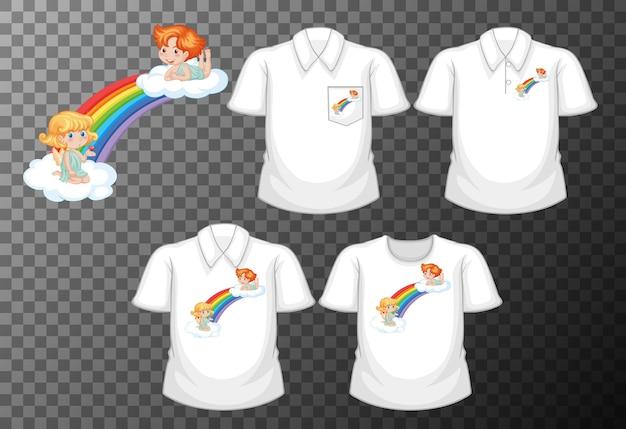 Kleine hoek stripfiguur met set van verschillende shirts geïsoleerd op transparant