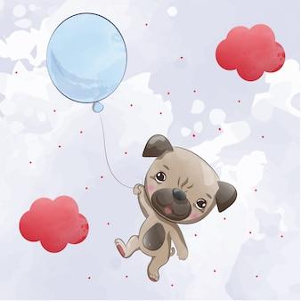 Kleine hond vliegt