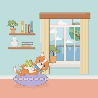 Kleine hondmascotte in de huiskamer