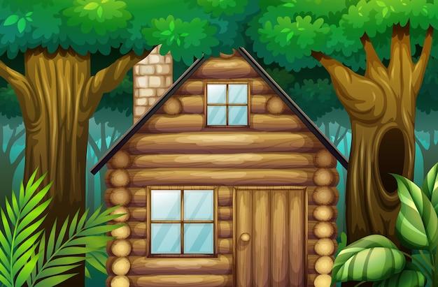 Kleine hut in het bos