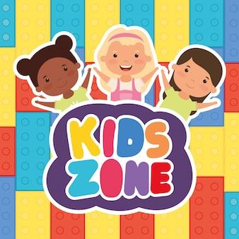 Kleine interraciale meisjes met kinderen zone belettering