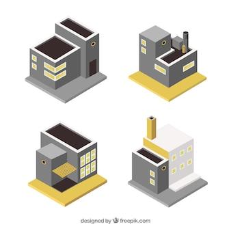 Kleine isometrische industriële gebouwen