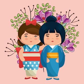 Kleine japanse paar meisjes kawaii met bloemen tekens