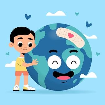 Kleine jongen aarde verzorgen