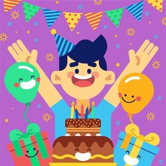 Kleine jongen die gelukkig is op zijn verjaardag