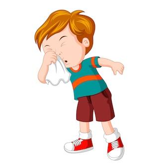 Kleine jongen die hard niest