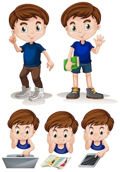 Kleine jongen doet verschillende activiteiten illustratie