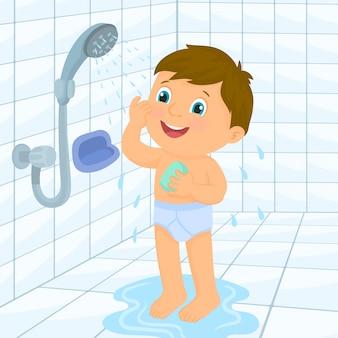 Kleine jongen een bad nemen