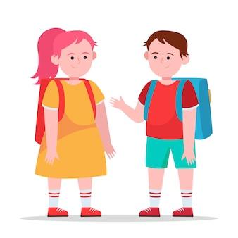 Kleine jongen en meisje chatten met elkaar