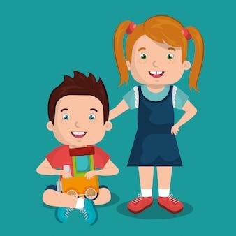 Kleine jongen en meisje spelen met speelgoed tekens
