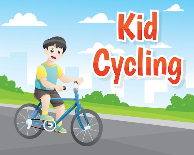 Kleine jongen fietsen