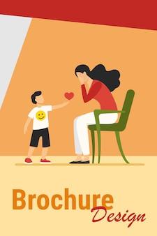 Kleine jongen hart geven aan trieste moeder. liefde, zorg, jeugd platte vectorillustratie. relatie- en familieconcept voor banner, websiteontwerp of bestemmingswebpagina