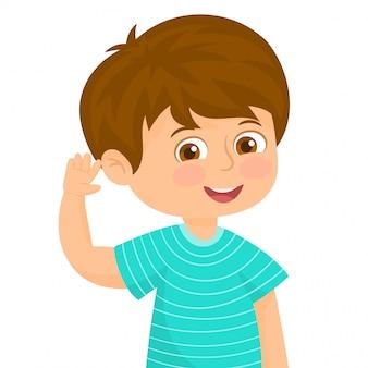 Kleine jongen in een luisterend gebaar