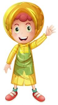 Kleine jongen in gele regenjas