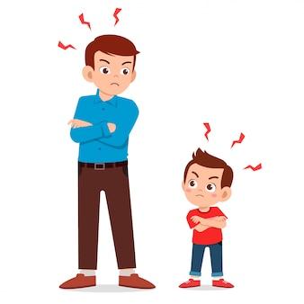 Kleine jongen jongen boos op papa