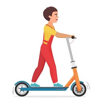 Kleine jongen jongen met behulp van elektrische scooter stadsvoertuig geïsoleerd