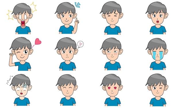 Kleine jongen karakter avatars 12 verschillende gezichtsuitdrukkingen