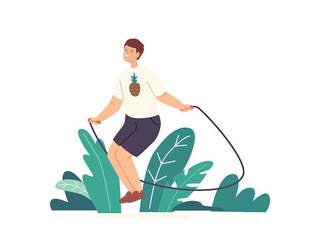 Kleine jongen karakter oefenen met springtouw. kind speelt op straat, springt en verheugt zich in de zomertijd. gezond leven, buitenactiviteiten voor kinderen en actieve vrije tijd. cartoon vectorillustratie
