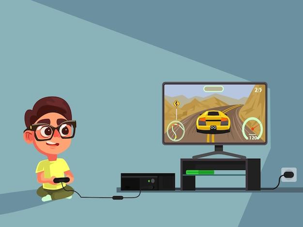 Kleine jongen karakter spelen van videogame.
