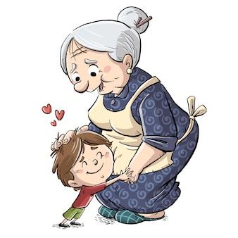 Kleine jongen knuffelen zijn grootmoeder