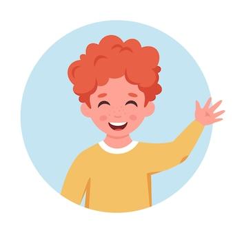 Kleine jongen lacht en zwaait met de hand kleine jongen portret in cirkelvorm