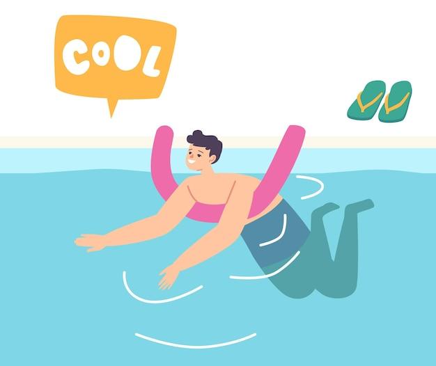 Kleine jongen leert zwemmen drijvend op bar in zwembad of zee