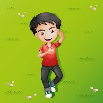 Kleine jongen liggend op het gras