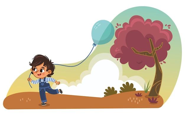 Kleine jongen loopt in het park met een ballon cartoon vectorillustratie