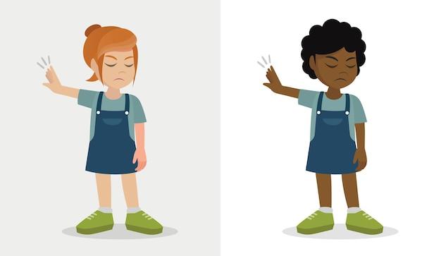 Kleine jongen meisje toon gebaar weigeren uitdrukking