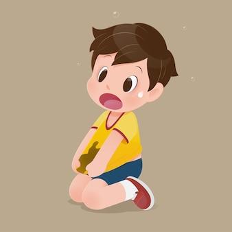 Kleine jongen met een geel shirt gekleurd met modder. concept met vectorontwerp