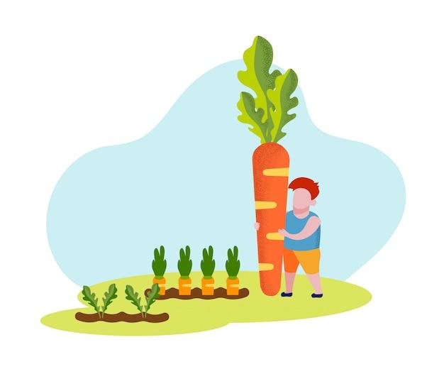 Kleine jongen met enorme wortel in handen. vector.