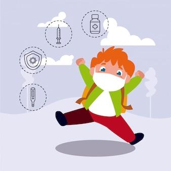 Kleine jongen met iconen van coronavirus bescherming en symptomen