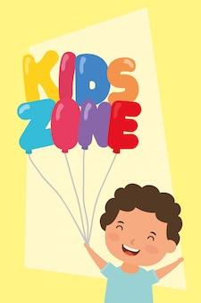 Kleine jongen met kinderen zone ballonnen helium