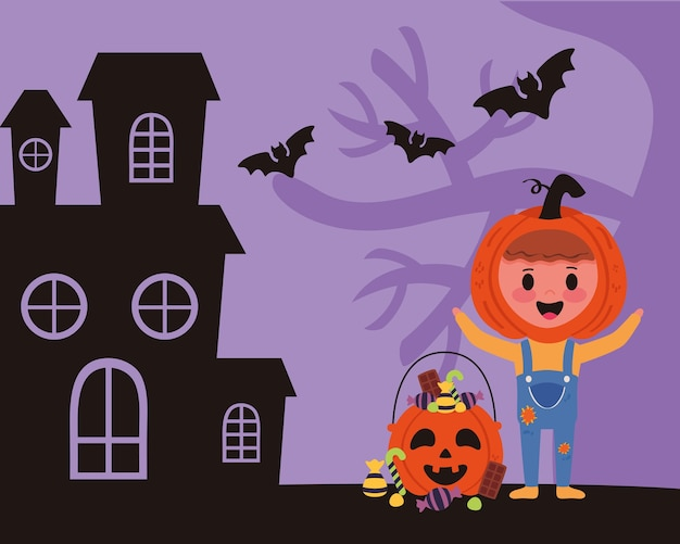 Kleine jongen met pompoen halloween kostuum