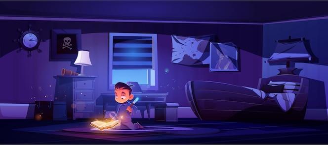 Kleine jongen oefent magie met toverstok en spreukenboek