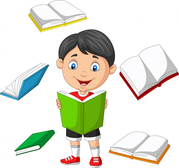 Kleine jongen omringd door vliegende boeken