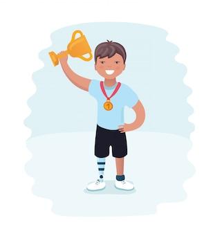 Kleine jongen op prothesen. jonge agent gehandicapte atleet op een witte achtergrond. cartoon stijl atleet op prothesen, paralympische