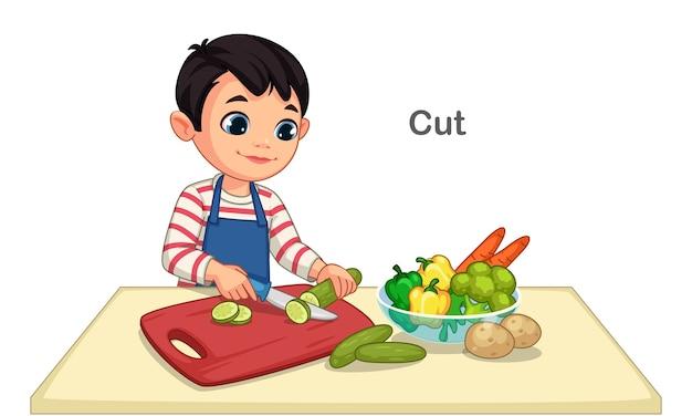 Kleine jongen snijden groenten illustratie
