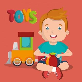 Kleine jongen speelt met speelgoed karakter