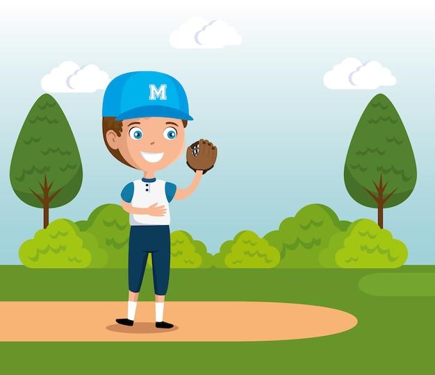 Kleine jongen spelen honkbal gelukkig karakter