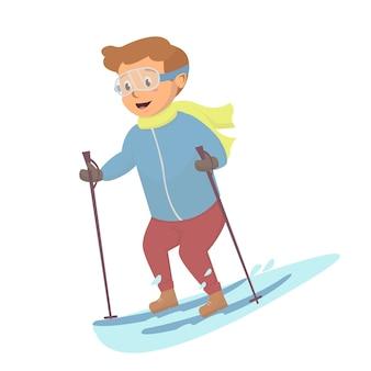 Kleine jongen spelen ijs skiig illustratie