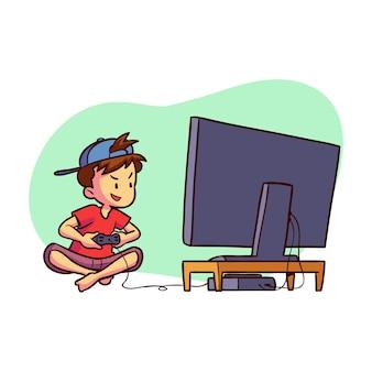 Kleine jongen spelen van video game