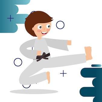 Kleine jongen training karate krijgskunst sport kinderen