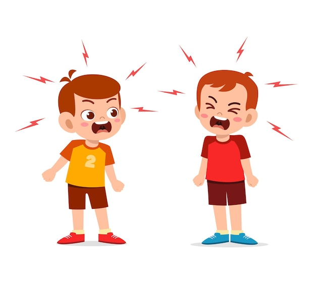 Kleine jongen vecht en maakt ruzie met zijn vriend