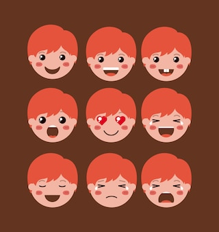 Kleine jongens emoticon set kawaii karakters