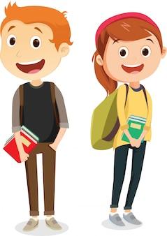 Kleine jongens en meisjes lopen samen naar school