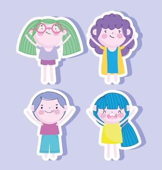 Kleine jongens en meisjes stickers iconen vector illustratie
