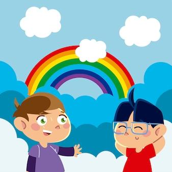 Kleine jongens karakter regenboog wolken hemel cartoon, kinderen illustratie