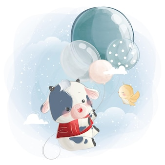 Kleine kalf jongen vliegen met ballonnen